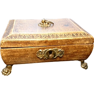 Antique embossed leather and ormolu jewelery box, 19th century, lion paw feet, jewellery casket
