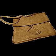 Stunning antique camel leather handbag, soft camel leather ladies 1901 edwardian bag