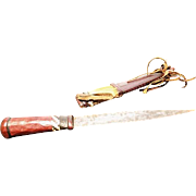 Antique West African dagger, Mandinka tribe, decorative leather and cow hair scabbard, late 19th century, collectable antique dagger