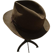 Fabulous 1940's mens suede olive green trilby hat, by Battersby London