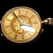 Antique Victorian 9ct gold pocket watch, wind up pocket watch, ladies gold Swiss pocket watch