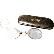 Antique 9ct gold Pince-nez, Edwardian cased spectacles with gold ear chain, Weatherall and Eberlin, Nottingham, c1905