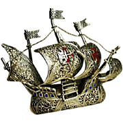 Vintage silver and enamel galleon brooch, filigree, wirework, sterling silver ship brooch