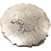 Vintage 50's silver rose Stratton compact, silver tone