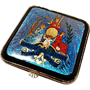 Rare late 30's Gwenda compact, butterfly wing powder compact, blue butterfly and enamel, masonic regalia