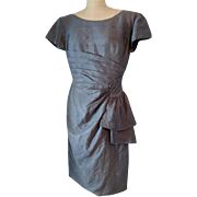Vintage silk dress, 1950's pure silk grey two piece dress, 50's two piece, Van Roth, bombshell dress