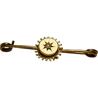 Antique gold and seed pearl pin, victorian Etruscan style brooch, 9ct gold