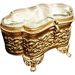 French antique ormolu jewelry casket, large quilted satin jewelry, Rococo style