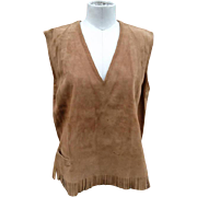 Gorgeous 60's vintage real suede fringed vest, Boho, hippie, festival, native, 60's tunic