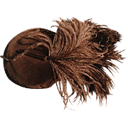Glamorous 1950's vintage Mitzi Lorenz velvet pillbox hat, brown velvet and ostrich feather