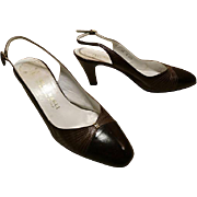 Vintage 1960's Bruno Magli brown leather slingback heels, vintage Italian leather shoes