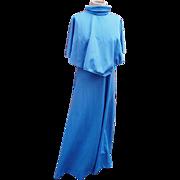 Fab 70's blue caped maxi dress, vintage 70's maxi dress, vintage caped dress, vintage summer dress, 1970's festival dress, hippie, boho