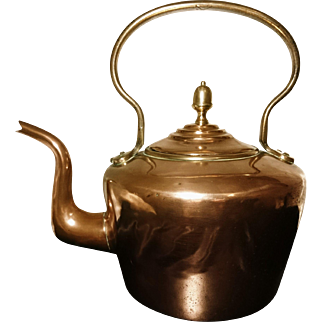 Victorian copper kettle, traditional English antique stove top kettle