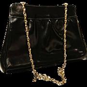 Gorgeous 50's vintage Hamilton leather evening bag, patent leather shoulder bag, black and gold