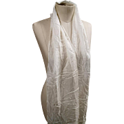 Stunning Victorian silk scarf, antique ivory / cream silk, long fringing and crochet
