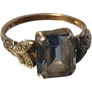 Absolutely stunning Art Deco 9ct gold and blue stone ring with marcasite, white gold, yellow gold, 9 karat gold