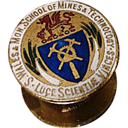 Collectable pin, South Wales school of mines and technology, vintage enamel pin badge, mining interest
