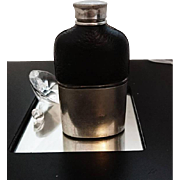 Stylish vintage 50's leather and white metal hip flask, 1950's black and silver tone hip flask