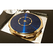 Blue enamel and gold tone star vintage 1950's Stratton compact
