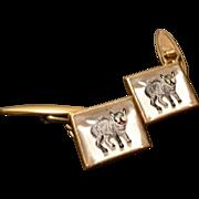 Rare striking antique Essex crystal cufflinks, yellow metal, wildcat design