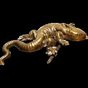 Rare antique ormolu komodo dragon brooch, oriental lizard pin brooch