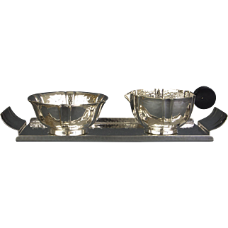 Georg Nilsson for GERO 90 silverplated sugar and creamer set made in the 1930s