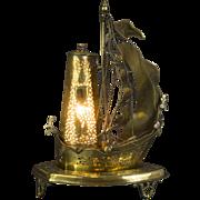 Vintage copper boat shaped lamp