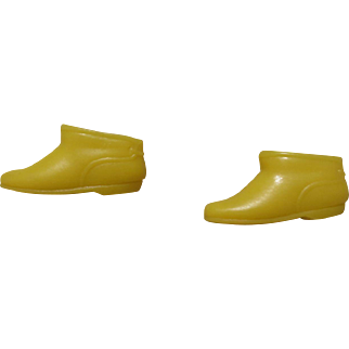 Vintage Barbie Yellow Squishy Ankle Boots Japan