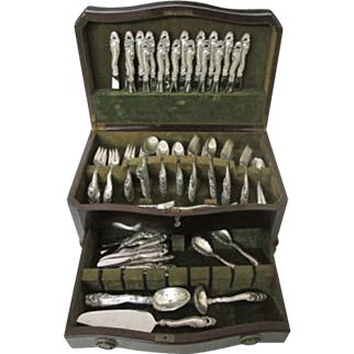 "Incredible C. 1950 Gorham ""Decor"" Sterling Silver Flatware set 155 pieces"