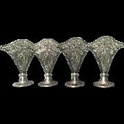 Vintage Godinger Silverplate Fan Vases - Group of 4