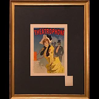Jules Cheret Theatrophone Maitre De l'Affiche Stone Lithograph
