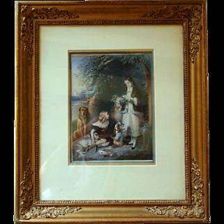 Beautiful princess of dry point print  19th century