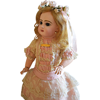Endearing Depose' Tete Jumeau in Petite Size with Pretty Pink Lace Couture Dress