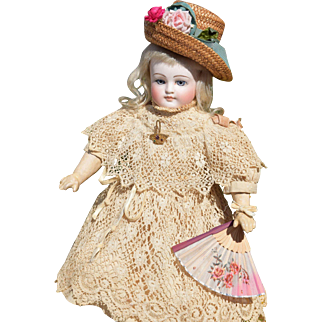 "Spectacular Antique ""Bru-like"" Closed-Mouth Sonneberg Doll with All-Antique Clothing"