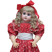 Darling Depose' Tete Jumeau in Antique Red Jumeau Dress with Red Shoes to Match