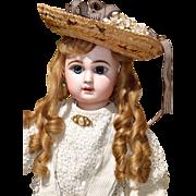 "22"" Depose' Tete Jumeau - All-Antique - with Pretty Corduroy Dress & Straw Hat"