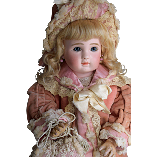 Fabulous French Bebe Steiner Figure A in Velvet Couture Costume with Coat & Muff
