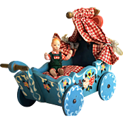 Large Bavarian Hand-Carved & Painted Dora Kuhn Cradle and Little Boy for Dollhouse or Display, 1950's