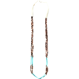 Turquoise and olive shell necklace