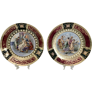 Pair of German Cabinet Plates with Neoclassical Motifs