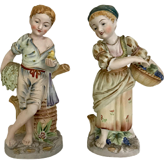 Vintage Pair of Bisque Figurines, Country Boy and Girl
