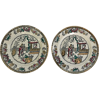 Two English Plates with Chinese Pattern