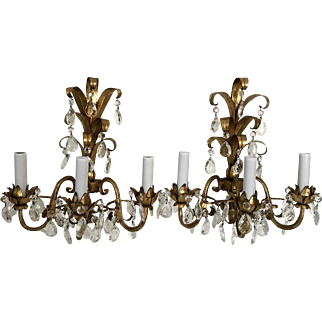 Pair of Gilt Metal and Crystal Sconces