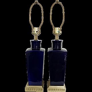 Pair of Cobalt Blue Ceramic Lamps