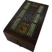 Vintage folding wooden cribbage board and card box