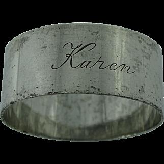 A vintage silver plain napkin ring