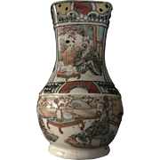 Early Japanese Hand painted Eastern Satsuma Pottery Vase Circa 1830-1880