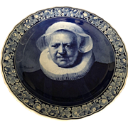 Large 18th Century Delft Blue & White Portrait Wall Plate signed Rembrandt