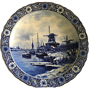 Late 19th Century Delft  Scenic Saw Mill Charger Plate signed Louis Apol