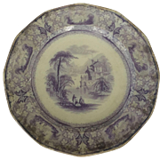 19th Century English Ironstone Transfer-ware Plate Lawrence Pattern